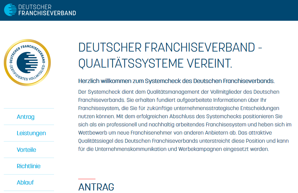Systemcheck-Website des Deutschen Franchiseverbandes